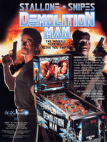 Demolition Man (pinball) — 1994 at Barcade® in Highland Park, Los Angeles, California | Game flyer graphic