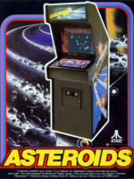 Asteroids — 1979 at Barcade® in Highland Park, Los Angeles, California | Game flyer graphic