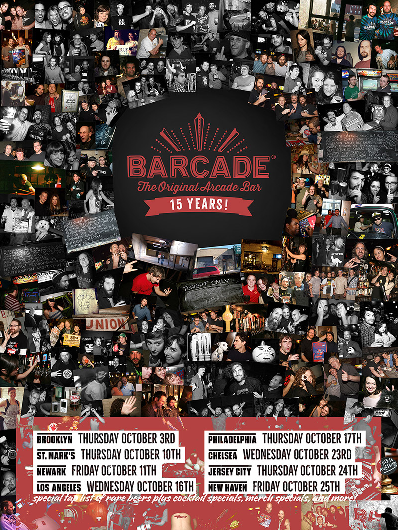 Barcade 15th Anniversary Celebration — October 16, 2019 at Barcade® in Los Angeles, California | poster