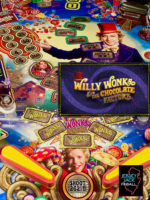 Willy Wonka and the Chocolate Factory (pinball) — 2019 at Barcade® in Highland Park, Los Angeles, California | Game flyer graphic