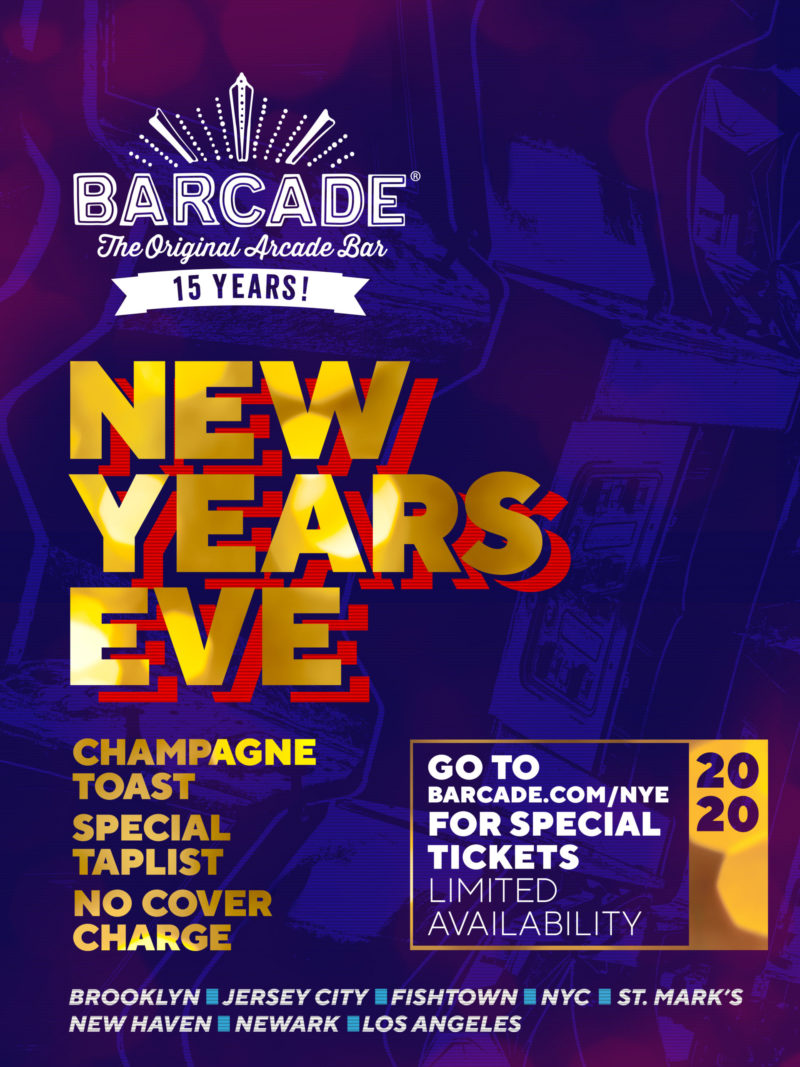 New Years Eve at Barcade on Tuesday, December 31st 2019 in Los Angeles, CA