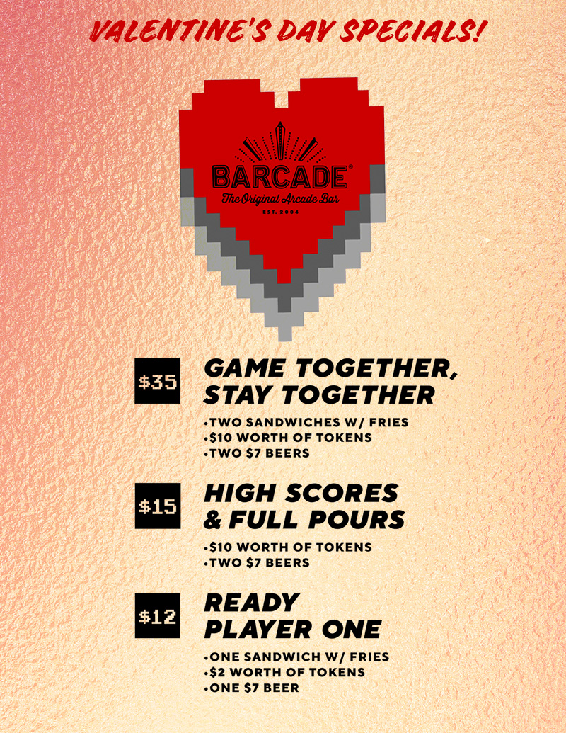 Barcade Valentines Day Specials in Los Angeles, CA | graphic